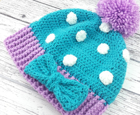 Turquoise, Lilac and White or Custom Colour Polka Dot Pom Pom Beanie with Bow Detail - Kawaii Sweet Lolita Hat by VelvetVolcano