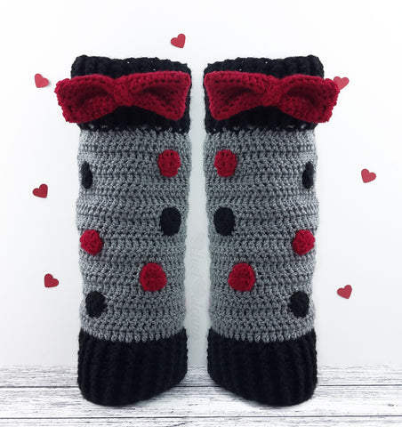 Polka Dot Bow Leg Warmers