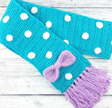 Turquoise, Lilac & White Polka Dot Crochet Scarf with Bow Detail and Tassels, handmade from Acrylic Yarn by VelvetVolcano