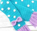 Custom Colour Crochet Polka Dot Scarf with Bow Detail and Tassels for Girls and Women, handmade from Acrylic Yarn by VelvetVolcano