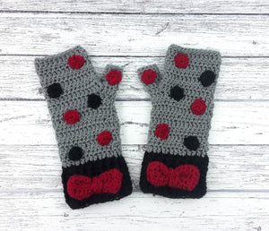 Ready to Ship Polka Dot Bow Fingerless Gloves