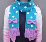 Kawaii Sweet Lolita Crochet Acrylic Scarf with Polka Dots, Bow Detail and Tassels by VelvetVolcano