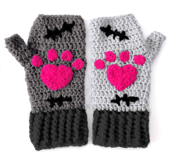 CorpseKitty Fingerless Gloves - Grey, Black & Hot Pink Frankensteins Monster & Zombie Cat Inspired Hand Warmers by VelvetVolcano