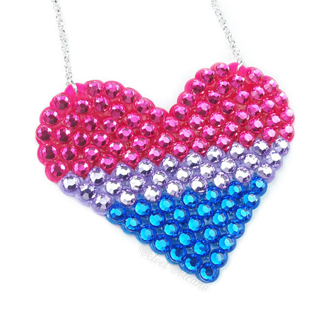 Bisexual Pride Heart Necklace - Hot Pink, Lilac and Royal Blue Rhinestone Encrusted Sparkly Love-Heart Necklace by VelvetVolcano
