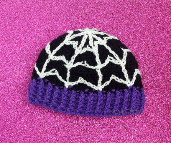 Kids Bespoke Spider Web Beanie - Black, Purple & White Baby & Child Crochet Cobweb Winter Hat by VelvetVolcano