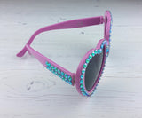 Baby Pink & Turquoise Sparkly Heart Shaped Sunglasses by VelvetVolcano