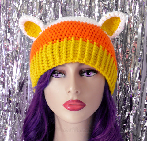 Candy Corn Kitty Beanie by VelvetVolcano