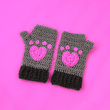 Kitty Paw Fingerless Gloves - Mid Grey & Dark Grey Crochet Hand Warmers with Bubblegum Pink Heart Shaped Cat Paws by VelvetVolcano