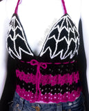 Black, Cerise (Dark Pink) and White Spider Web Halter Neck Crochet Top - Custom Colour Goth Summer Top