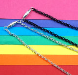VelvetVolcano Torpedo Clasp on Silver Plated and Black Plated Chains
