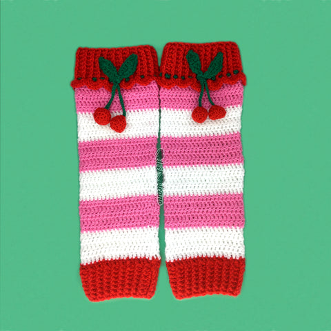 Cherry Stripe Leg Warmers