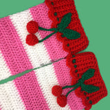 Cherry Stripe Leg Warmers - Crochet Womens or Girls Bubblegum Pink, White and Red Legwarmers with Frill and Cherry Detail