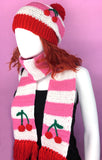 Cherry Stripe Scarf - Bubblegum Pink, White and Red Scarf with Tassels and Cherry Detail
