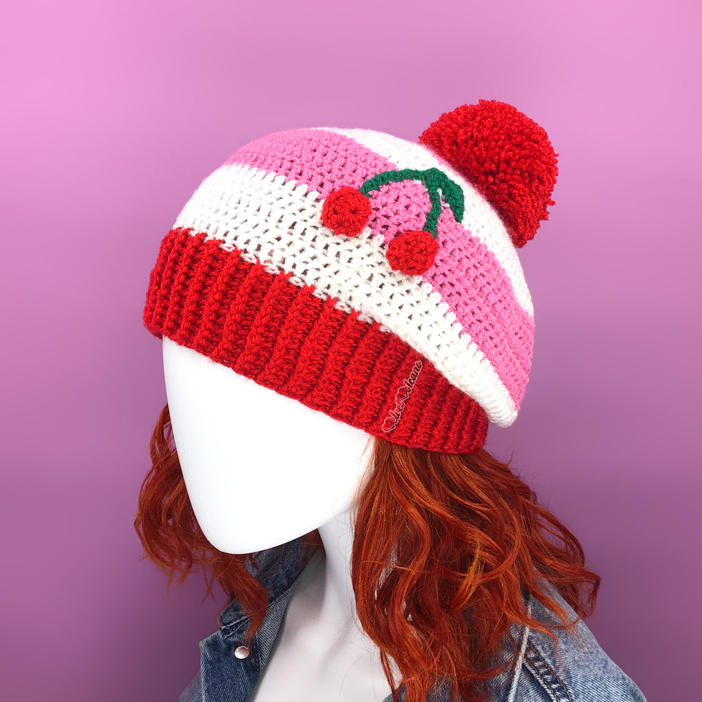 Bubblegum Pink, White & Red Striped Slouchy Crochet Pom Pom Beanie with Cherry Motif by VelvetVolcano