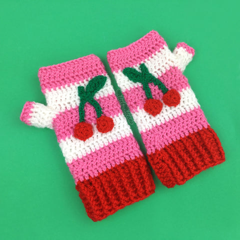 Cherry Stripe Fingerless Gloves - Bubblegum Pink, White & Red Hand Warmers