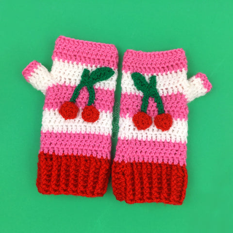 Cherry Stripe Fingerless Gloves
