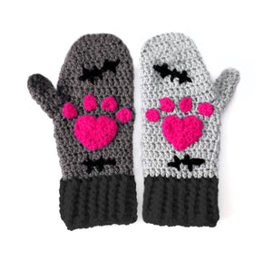 CorpseKitty Mittens - Grey, Black and Pink Frankenstein & Zombie Inspired Crochet Mittens by VelvetVolcano