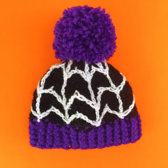 Spider Web Pom Pom Beanie (Baby - Child Sizes)