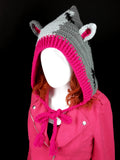 CorpseKitty (FrankenKitty) Pixie Hood - Crochet Pointed Elf / Faerie Hood with Cat Ears and Frankenstein's Monster Inspired Design made from 100% Acrylic Yarn in Light Grey, Dark Grey, Black and Cerise Pink by VelvetVolcano