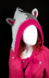 CorpseKitty (FrankenKitty) Pixie Hood - Crochet Pointed Hood with Cat Ears and Frankenstein's Monster Inspired Design made from 100% Acrylic Yarn in Light Grey, Dark Grey, Black and Cerise Pink by VelvetVolcano