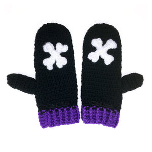 Crossbones Mittens - Crochet Black, White & Violet Hand Warmers with Spooky Bone Applique Detail by VelvetVolcano