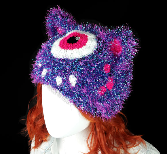 Cyclops Kitty Beanie - Fluffy Tinsel Monster Cat Hat by VelvetVolcano