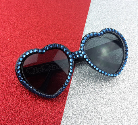 DENIM Navy Blue & Black Heart Shaped Sunglasses