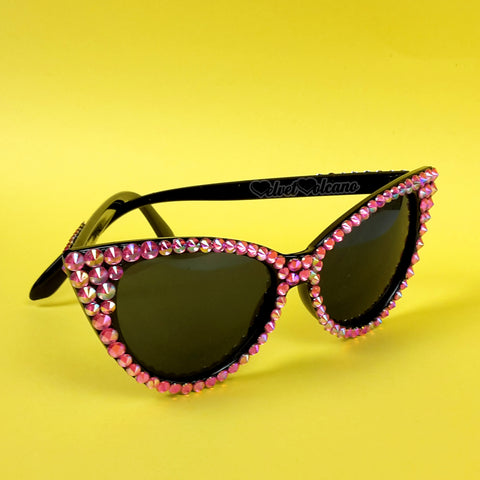 'DOLLY' Hot Pink and Black Cat-Eye Sunglasses