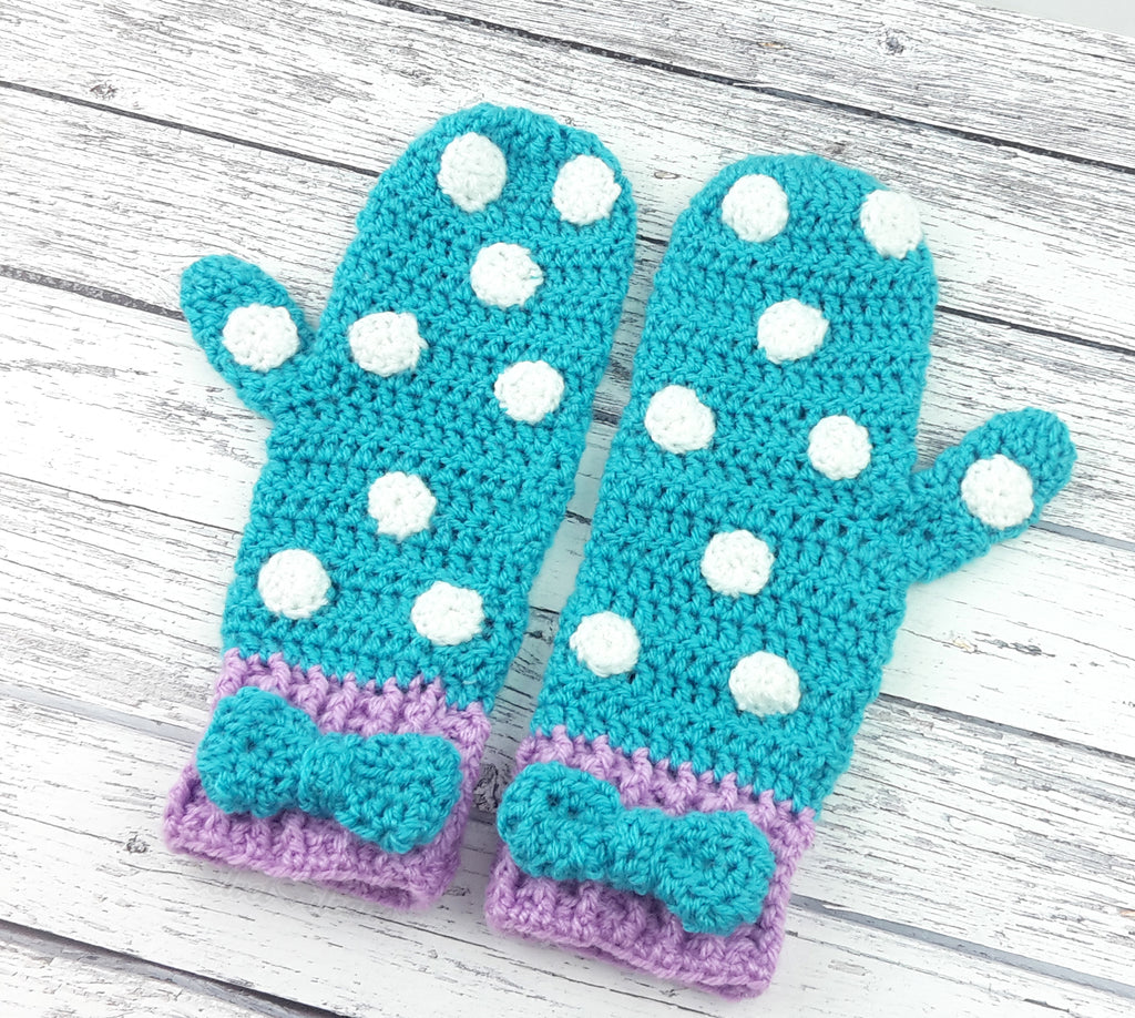Turquoise, Lilac and White or Custom Colour Crochet Polka Dot Mittens with Bow Detail for Girls or Women by VelvetVolcano