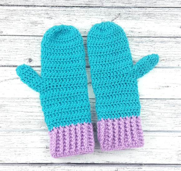 Turquoise & Lilac Duotone Mittens - Crochet Two Tone Custom Colour Hand Warmers by VelvetVolcano