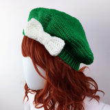 Emerald & White Bow Beret - Custom Colour Vintage Inspired Crochet Hat by VelvetVolcano