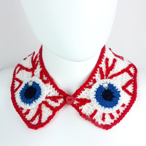 Peter Pan Style Detachable Collar with Eyeball and Bloodshot Pattern