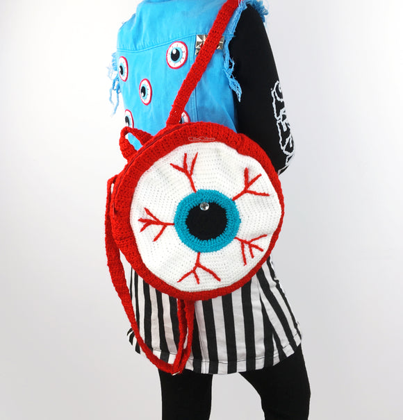 Crochet Eyeball Backpack by VelvetVolcano