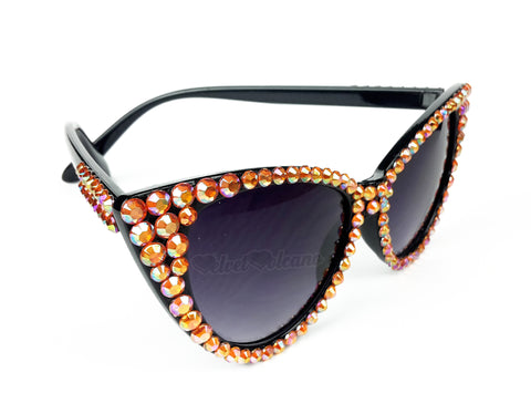 FIRE Sparkly Orange & Black Cat Eye Sunglasses - Black Cat Eye Sunglasses encrusted with Orange Aurora Borealis Rainbow Effect Rhinestones by VelvetVolcano