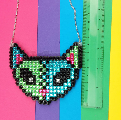 VelvetVolcano FrankenKitty Necklace - Turquoise, Green & Neon Pink Rhinestone Zombie Cat Necklace