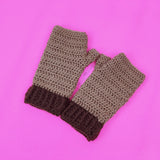 Kitty Paw Fingerless Gloves - Light Brown & Dark Brown Crochet Hand Warmers with Bubblegum Pink Heart Shaped Cat Paws by VelvetVolcano