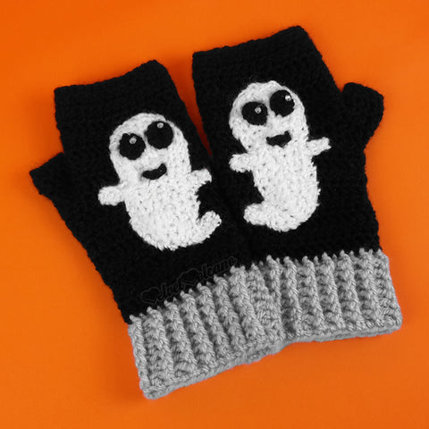 VelvetVolcano Ghost Fingerless Gloves