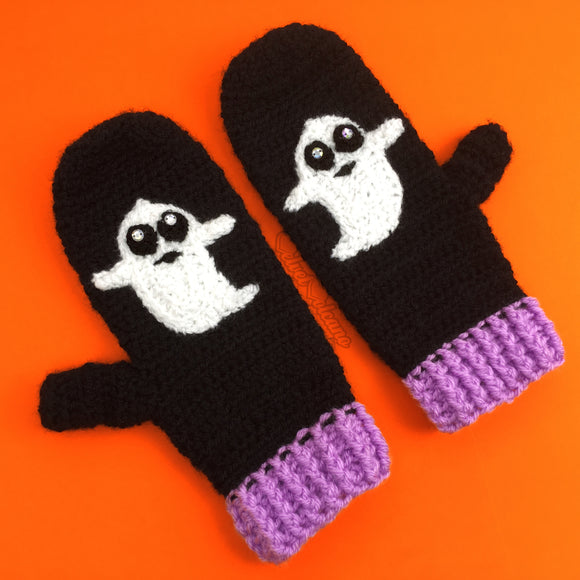 Black & Lilac Crochet Mittens with Ghost Design by VelvetVolcano