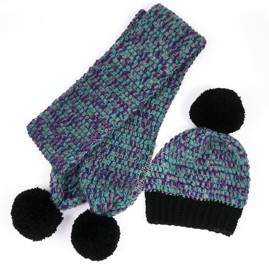 Grey, Purple, Teal & Black Pom Pom Bobble Scarf & Beanie Set