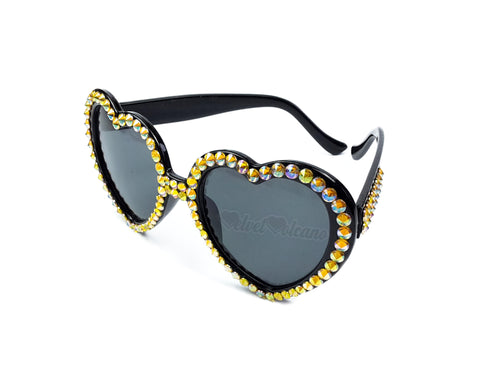 HAZARD Yellow & Black Heart Shaped Sunglasses