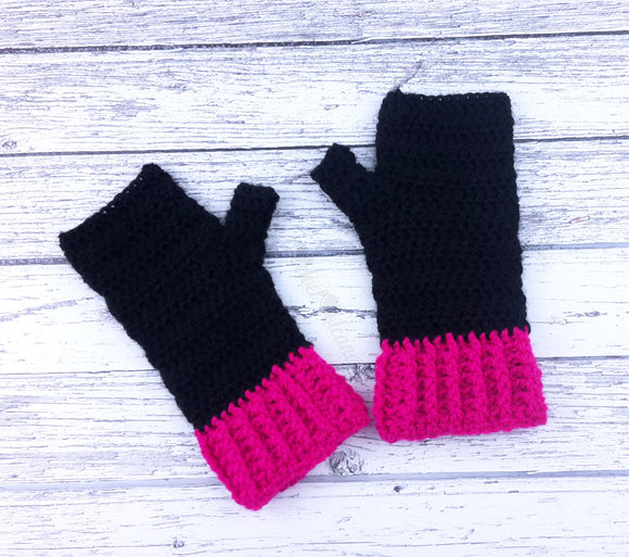 Black & Hot Pink Crochet Fingerless Gloves - Custom Colour Duotone/Duochrome Knit Hand Warmers by VelvetVolcano