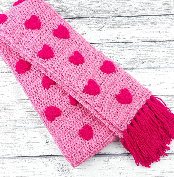 Baby Pink & Hot Pink Heart Pattern Crochet Scarf with Tassels by VelvetVolcano