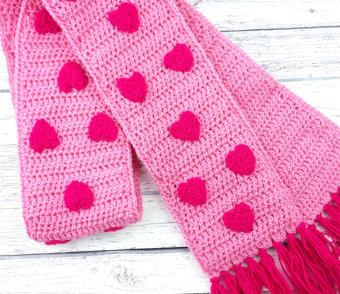 Bubblegum Pink & Cerise Crochet Scarf with Repeated Heart Design and Tassels by VelvetVolcano