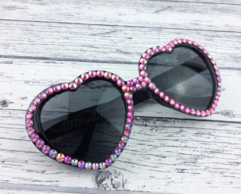 Candy - Hot Pink Rainbow Effect Rhinestone Encrusted Black Heart Shaped Sunglasses
