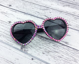 Hot Pink Rainbow Effect Rhinestone Encrusted Black Heart Shaped Sunglasses
