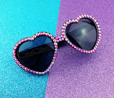 CANDY Hot Pink & Black Heart Shaped Sunglasses