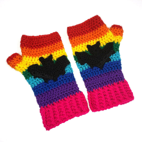 Rainbow Bat Fingerless Gloves