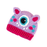 Crochet Cyclops Kitty Beanie for Babies and Children - Cute Lilac, Turquoise & Hot Pink Kids Monster Hat with Cat Ears
