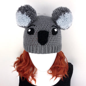 Crochet Koala Beanie with Pom Pom Ears by VelvetVolcano