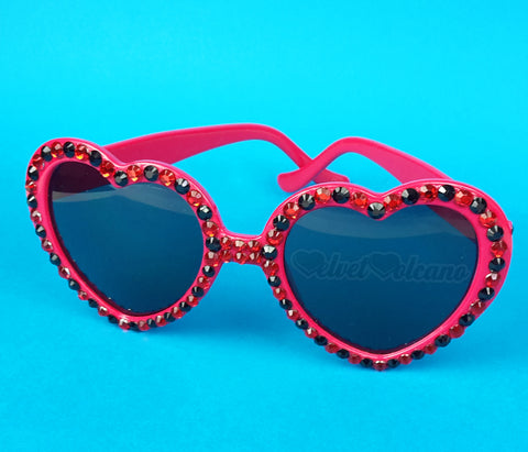LADYBIRD Sparkly Red & Black Heart Sunglasses - Red Heart Shaped Sunglasses encrusted with Polka Dot Red and Black Rhinestones by VelvetVolcano